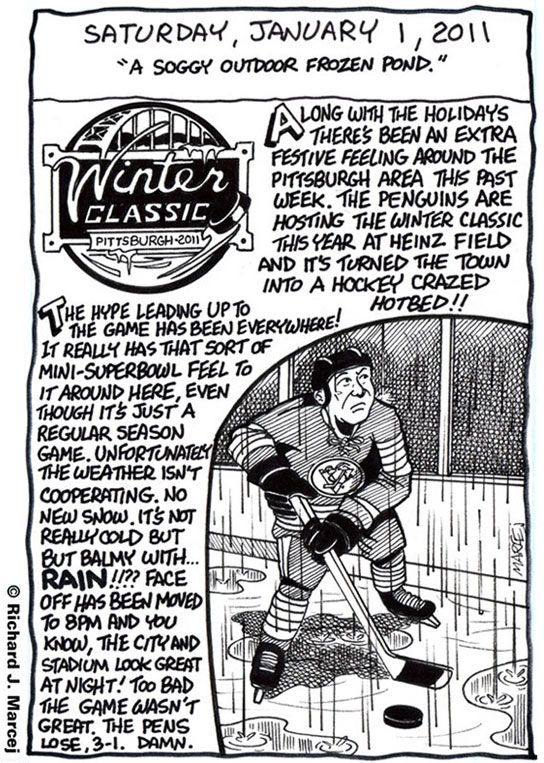 """Daily Comic Journal: January, 1, 2011: """"A Soggy Outdoor Frozen Pond."""""""