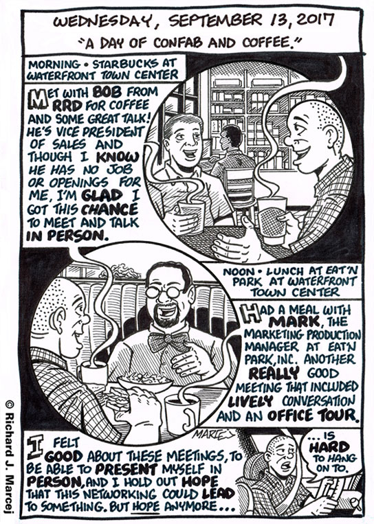 "Daily Comic Journal: September 13, 2017: ""A Day Of Confab And Coffee."""