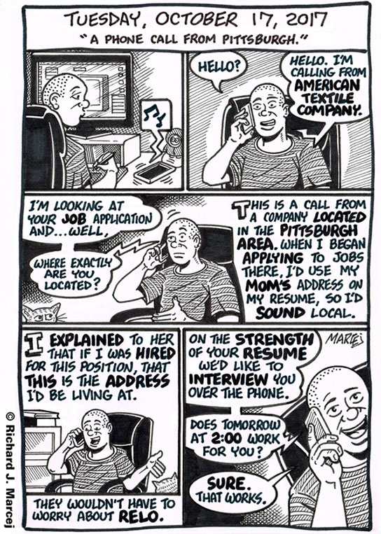 "Daily Comic Journal: October 17, 2017: ""A Phone Call From Pittsburgh."""