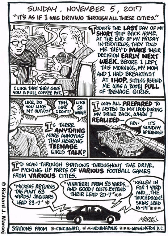 "Daily Comic Journal: November 5, 2017: ""It's As If I Was Driving Through All These Cities."""