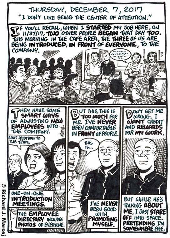 """Daily Comic Journal: December 7, 2017: """"I Don't Like Being The Center Of Attention."""""""