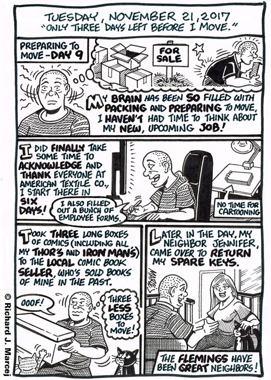 """Daily Comic Journal: November 21, 2017: """"Only Three Days Left Before I Move."""""""